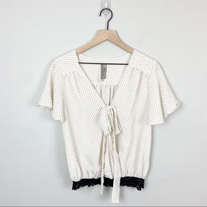 Free People Front Tie Dotted Blouse Gold/White S